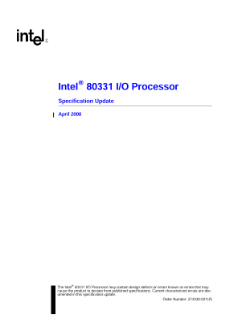 Specification Update: Intel® 80331 I/O Processor