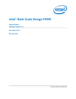 PSME Release Notes: Intel® Rack Scale Design