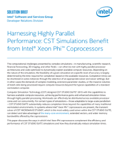 CST Simulations Benefit from Intel® Xeon Phi™ Coprocessors