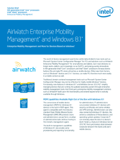 AirWatch Enterprise Mobility Management* and Windows* 8.1