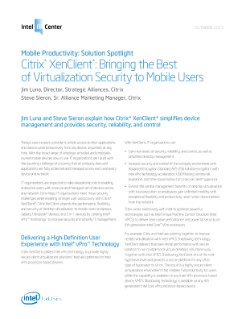 Citrix XenClient* Brings Virtualization Security to Mobile Users