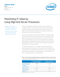 High-End Servers with Intel Processors deliver Maximum IT Value