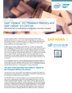 Persistent Memory and SAP HANA* 2 0 SPS 03 Database Start Times