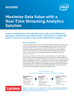Maximize Data Value with a Real-Time Streaming Analytics Solution