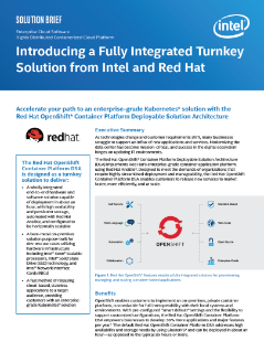 Introducing a Fully Integrated Turnkey Solution from Intel and Red Hat