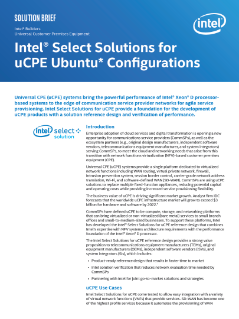 Intel Select Solutions for uCPE Ubuntu Configurations