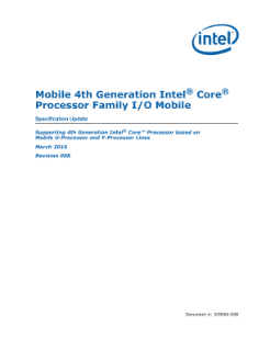 Mobile 4th Gen Intel® Core™ Processor Family I/O: Spec Update