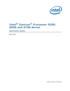 Intel® Itanium® Processor 9300/9500/9700 Series: Spec Update