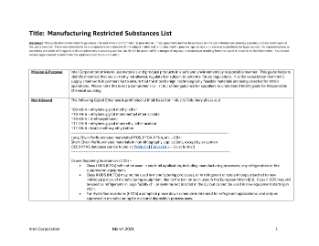 Chemical/Material Selection Guideline