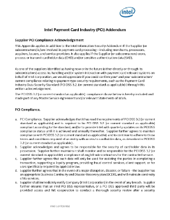 Intel Payment Card Industry (PCI) Addendum