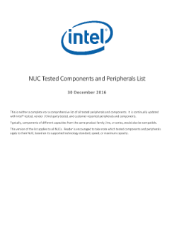 Intel® NUC Tested Components and Peripherals List