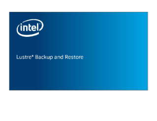 Lustre* Backup and Restore Overview