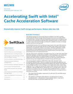 Intel® Solid State Drive with Intel® CAS Accelerating Swift Whitepaper