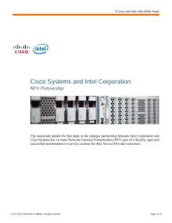 Cisco Systems and Intel Corporation NFV Partnership