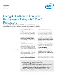 Encrypt Healthcare Data with Performance Using Intel® Xeon® Processors