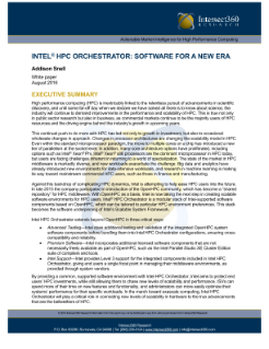 Intel® HPC Orchestrator: Software for a New Era