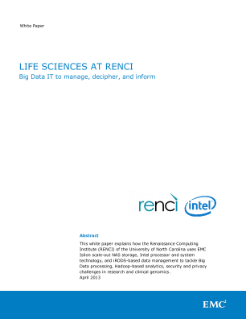 Life Sciences at RENCI: Big Data IT to manage, decipher and inform