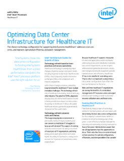 Optimizing Data Center Infrastructure for Healthcare IT