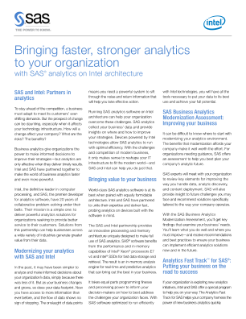 SAS and Intel: Partners in Analytics