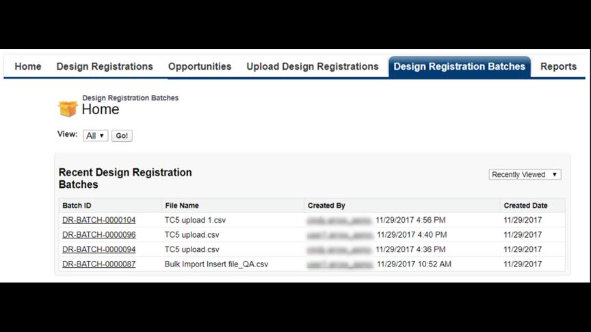 Design Registration: Design Registration Bulk Upload