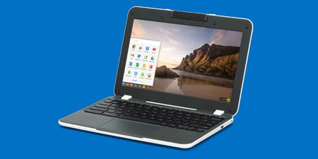 Chromebook* with beach scene on screen.
