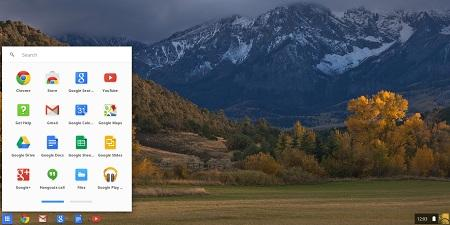 Screen shot of Google Apps* menu with mountain in background