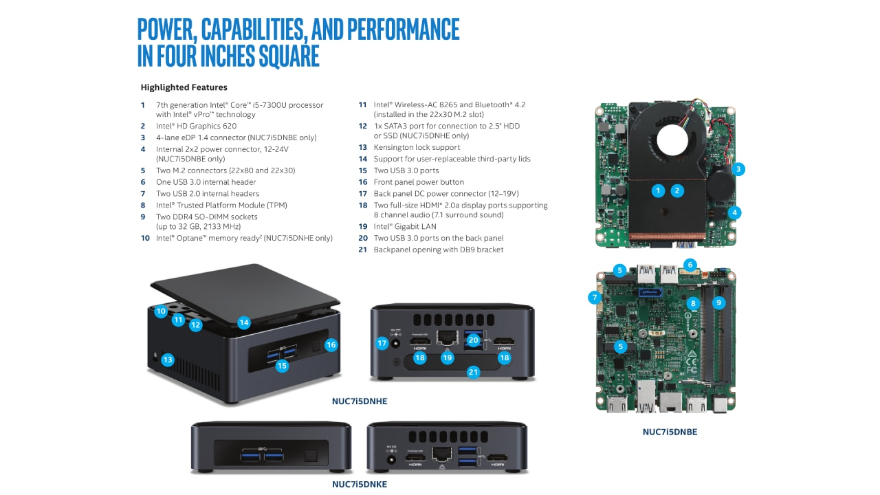 Intel NUC7I5DNKPC Mini PC NUC slim Kit - INTEL NUC i5-7300U
