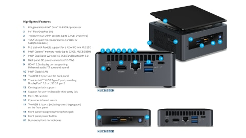 Intel® NUC Kits NUC8i3BEK and NUC8i3BEH Product Brief