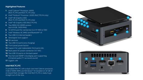 Intel® NUC Kits NUC7CJYH vs  NUC7PJYH: Product Brief