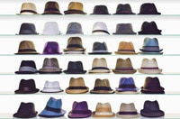 Retail shelves filled with men's hats