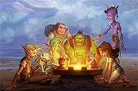 Characters playing Hearthstone* around a glowy gameboard