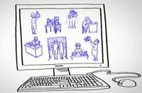 line drawn illustration of computer