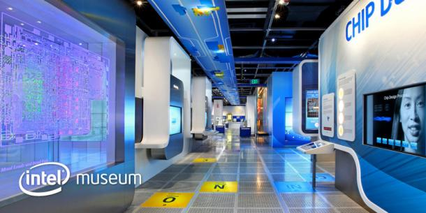 shot of inside the Intel museum display in Santa Clara CA