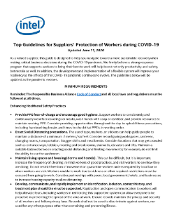 Top Guidelines for Suppliers' Protection of Workers during COVID-19  Updated June 11, 2020