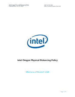 Intel Oregon Physical Distancing Policy  Modified Date: May 15, 2020
