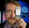 Pat Gelsinger, senior vice president and general manager of the Digital Enterprise Group at Intel Corp., displays the Dual-Core Intel Itanium® 9000 Series Processor, previously codenamed Montecito, at an event in San Francisco, Tuesday, July 18, 2006.